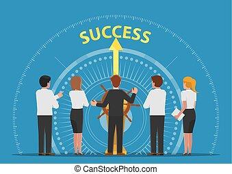controle, wiel, succes, brengen, team, zakenman, scheeps , stuurinrichting