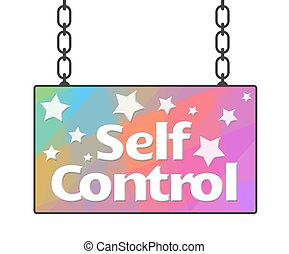 controle, zelf, signboard, kleurrijke