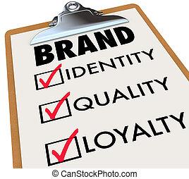 controlelijst, brandmerken trouw, klembord, kwaliteit, identiteit