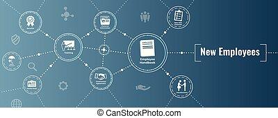 controlelijst, handboek, proces, enz., nieuw, verhuring, pictogram, werknemer, set, w