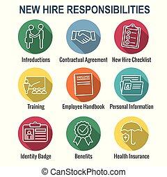 controlelijst, proces, enz., nieuw, verhuring, pictogram, werknemer, handdruk, set, w, opleiding