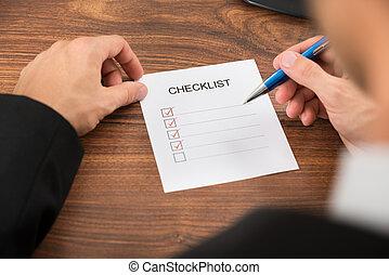 controlelijst, vullen, persoon, hand