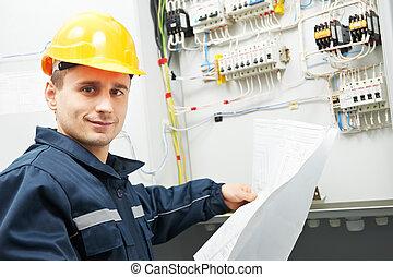 controleren, bekabelend, lijn, elektromonteur, macht