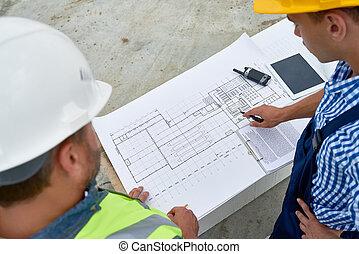 controleren, blauwdruken, aannemer, bouwterrein