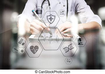 controleren, concept, medisch, screen., feitelijk, healthcare., consultatie, gezondheid, online, emr, ehr.