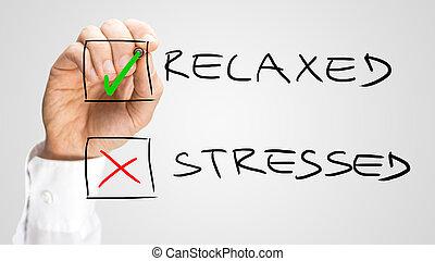 controleren doos, met, ontspannen, en, beklemtoonde, keuzes