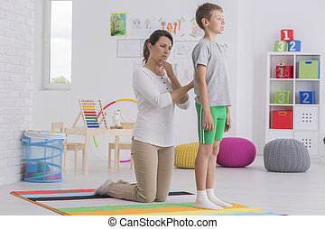 controleren, fysiotherapeut, school, back, jongen