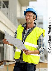 controleren, gebouw beheerder, gebouw stek
