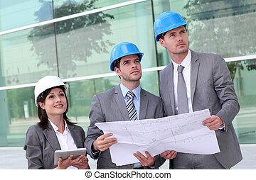 controleren, gebouw stek, zakenlui