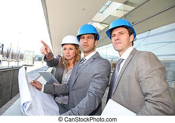 controleren, huizenbouw, bouwterrein, ingenieurs