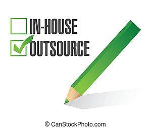 controleren, in-house, delocaliseer, illustratie, mark