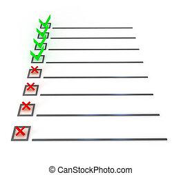 controleren lijst, symbool, op, witte
