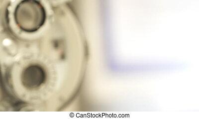 controleren, machine, oogheelkunde, closeup, oog