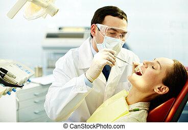 controleren, op, teeth