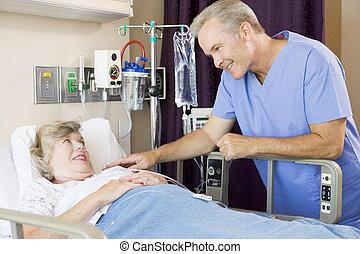 controleren, patiënt, op, arts