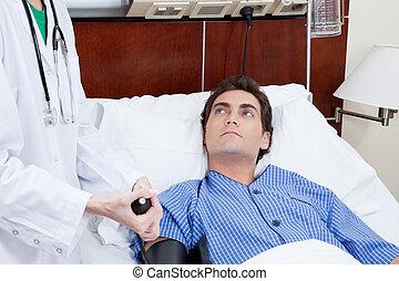controleren, patient\'s, arts, bloeddruk