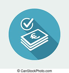 controleren, pictogram, -, betaling, eurobiljet