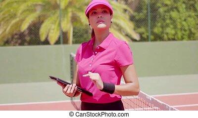 controleren, tennis spel, vrouw, schema