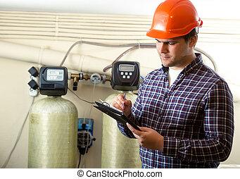 controleren, uitrusting, inspecteur, werken, fabriek