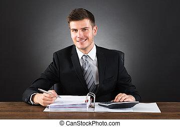 controleren, zakenman, factuur