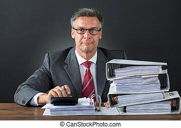 controleren, zakenman, rekenmachine, factuur, bureau