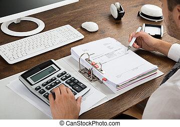 controleren, zakenman, rekenmachine, factuur