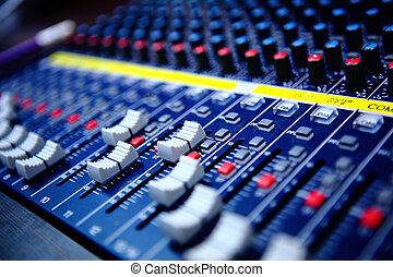 controles, de, audio, consola mezclada