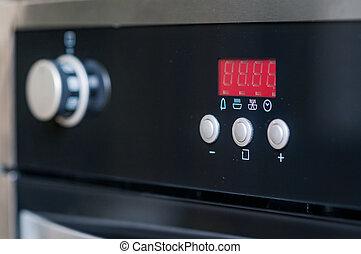 controles, en, el, horno