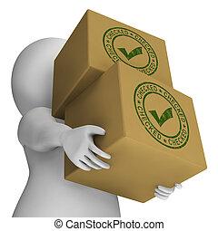 controllato, francobollo, con, zecca, su, scatole, mostra, qualità