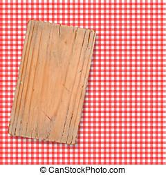 controllato, legno, taglio, asse, tovaglia, rosso