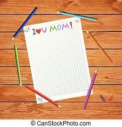 controllato, tipografia, sketchy, carta, mamma, amore, lei
