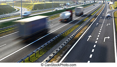 controlled-access, quatre, couloir, pologne, autoroute