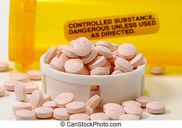 Controlled Substance - Pill Bottle With Warning Label and...