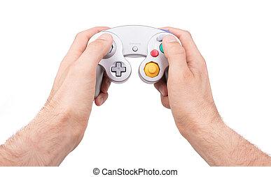 controller boldspil video, på hvide, baggrund