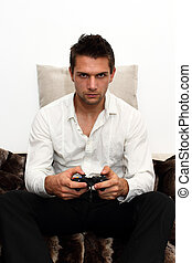 controller, couch, spielende , gamer, sitzen