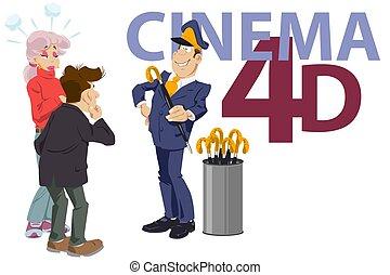 Controller distributes umbrellas at entrance to cinema. ...
