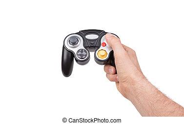 controller, weißes, videospiel, hintergrund