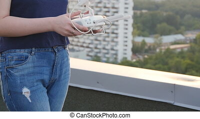 Controlling a remote helicopter drone. Drone flight remote...