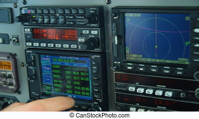 Controlling an airplane - A close up shot of an airplane's...