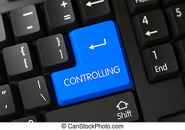 Controlling Close Up of Blue Keyboard Button. 3D.