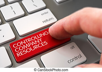 Controlling Company Resources - Laptop Keyboard Concept. 3D Illustration.