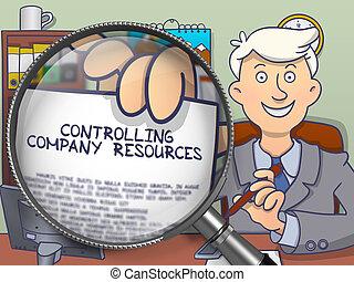 Controlling Company Resources through Lens. Doodle Design.