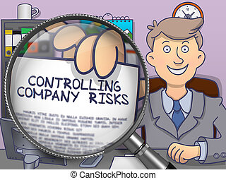 Controlling Company Risks through Magnifier. Doodle Style.