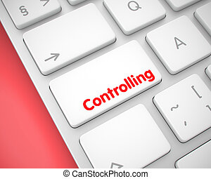 Controlling - Text on the White Keyboard Button. 3D.