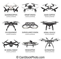 controllo, aereo, logotype, logotipo, tecnologia, signs., set., isolato, sorveglianza, vettore, rc, veicolo, collezione, icons., multirotor., congegno, uav, quadcopter, remoto, illustration., fuco, unmanned, visione, white.