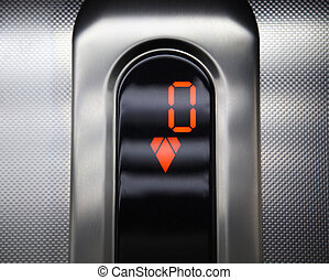 controllo, andare, ascensore, panel., giù.