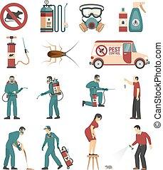 controllo, appartamento, servizio, icone, collezione, peste