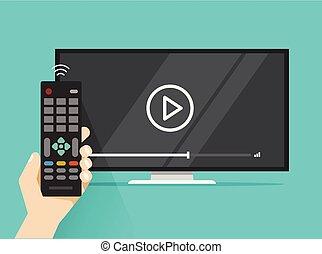 controllo, appartamento, televisione remoto, tv guardante, schermo film, film, mano, persona, mostra, video, disegno, cartone animato, o, film