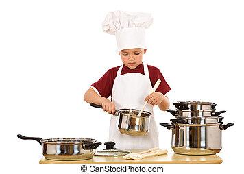 controllo, chef, capretto, cibo, serio