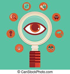 controllo, concetto, vettore, sorveglianza